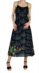 Robe longue originale imprim�e flowah noir 245121