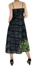 Robe longue originale imprimée flowah noir 255154