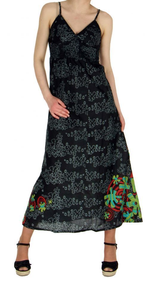 Robe longue originale imprimée tendance noir 245150