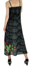 Robe longue originale imprimée tendance noir 255183