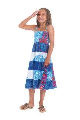 Robe longue pour Fille à bretelles Ethnique Nymphe à Mandalas Bleus 280408