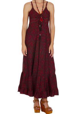 Robe longue rouge pour femme fluide style ethnique Liza