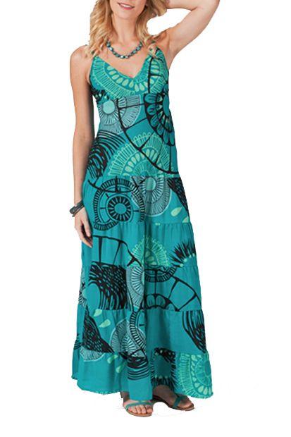 Robe longue smockée au dos bleue Kelly 267674