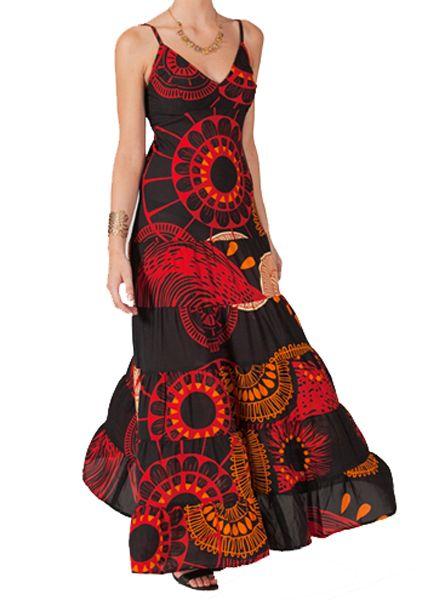 Robe longue smockée au dos noire et rouge Kelly 267676