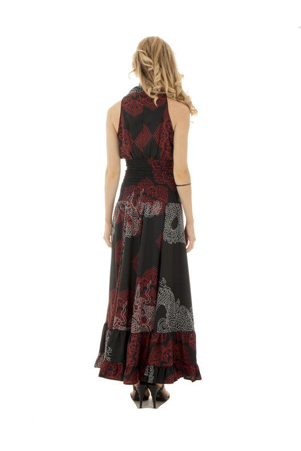 robe longue sublime col cache coeur avec imprimés ethniques Nupura 289269