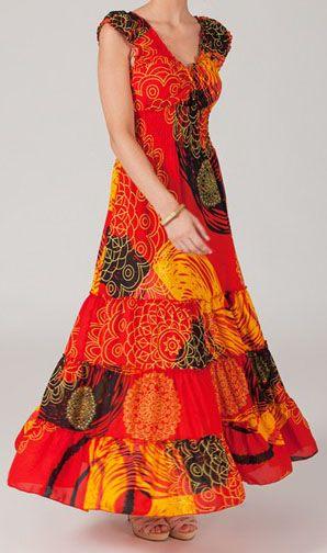 Robe longue tons orange Mariane 270163