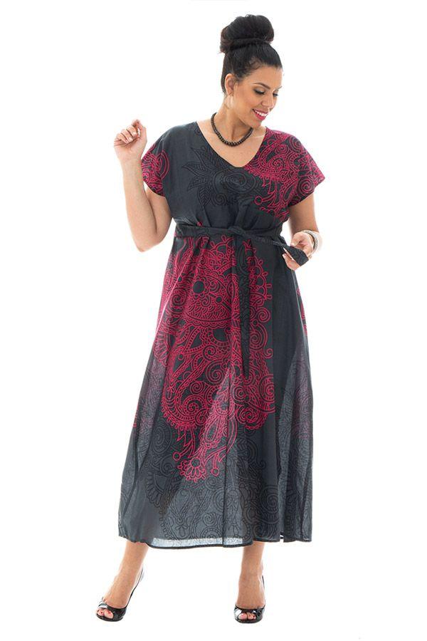robe longue transparente en voile de coton avec col en v Piassima