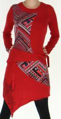 Robe manches longues transformable Ethnique et Originale Asymia Rouge 277926