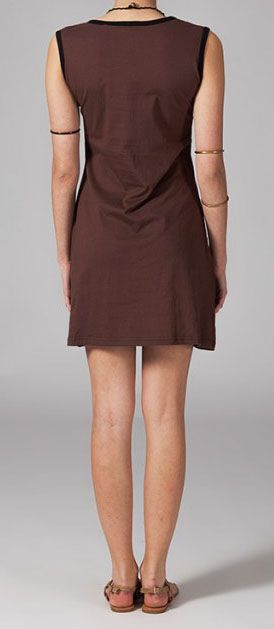 Robe marron sans manches Sacha