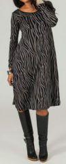 Robe mi-longue � col V Imprim�e et pas ch�re Aleyna 274222