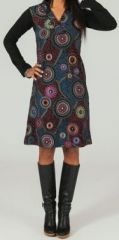 Robe mi-longue � manches longues ethnique et color�e Iaga 273831