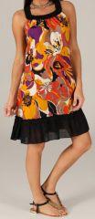 Robe mi-longue d'été Imprimée et Ethnique Tayoula Noire et Orange 279613