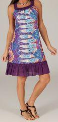 Robe mi-longue d'été Imprimée et Ethnique Tayoula Violette 279614