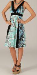 Robe mi-longue d'été Originale et Colorée Suzy Noire et Bleue 279434