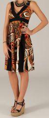 Robe mi-longue d'été Originale et Colorée Suzy Noire et Brune 279437