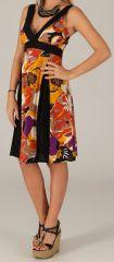 Robe mi-longue d'été Originale et Colorée Suzy Noire et Orange 279611