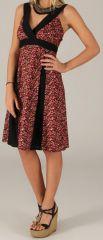 Robe mi-longue d'été Originale et Colorée Suzy Noire et Rouge 279438