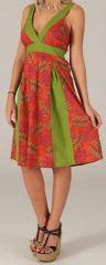 Robe mi-longue d'été Originale et Colorée Suzy Verte et Rouge 279435