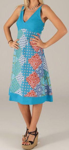 Robe mi-longue d'été Originale et Imprimée Armelle Bleue 276738