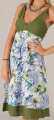 Robe mi-longue d'été Originale et Imprimée Melvie Kaki 276747