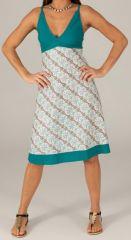 Robe mi-longue d'été Originale et Imprimée Opaline Blanche 276742
