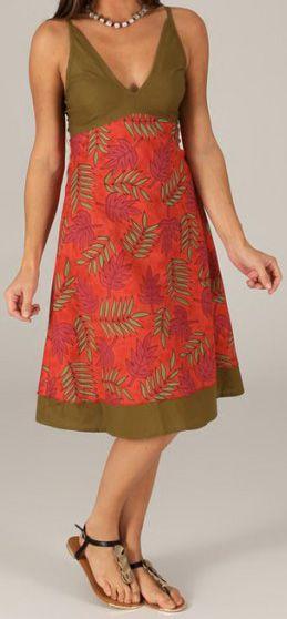 Robe mi-longue d'été Originale et Imprimée Pauline Rouge 276740