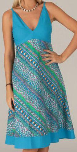 Robe mi-longue d'été Originale et Imprimée Sophia Bleue 276743