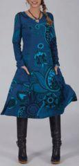 Robe mi-longue Ethnique et Color�e Lexane Bleue 274975