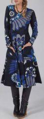 Robe mi-longue Ethnique et Colorée Lexane Noire et Bleue 274976