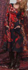 Robe mi-longue Ethnique et Colorée Lexane Noire et Rouge 274977