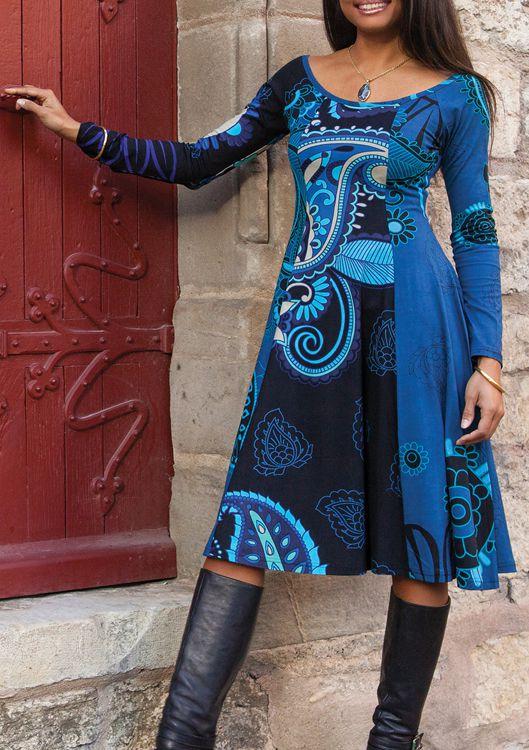 Robe mi-longue Ethnique et Colorée Lexya Bleue 274979