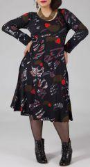 Robe mi-longue Femme ronde Ethnique et Color�e Kaitlyn Noire 274910