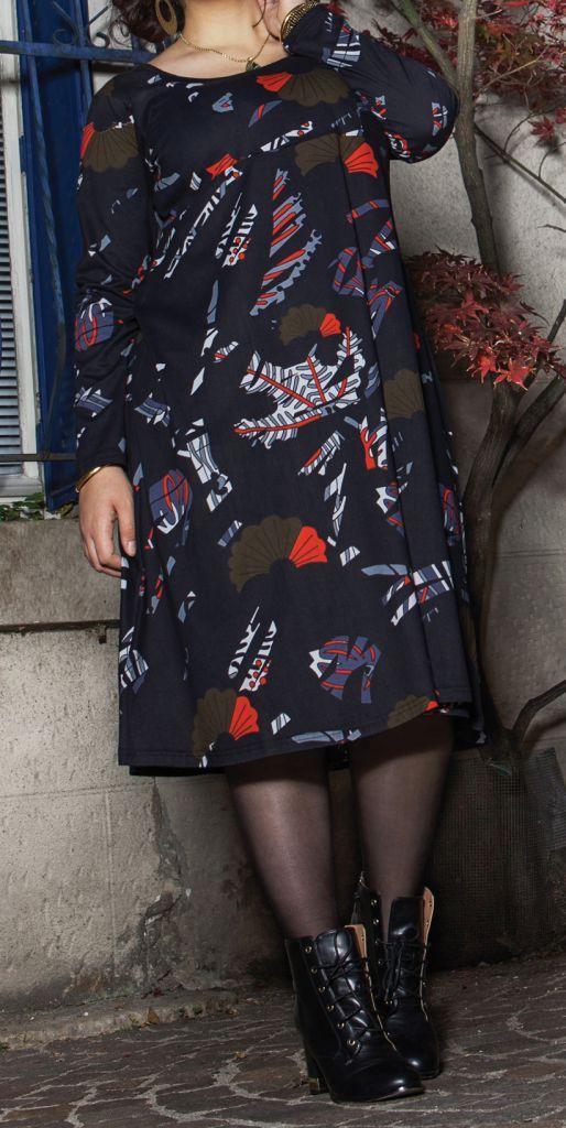 Robe mi-longue Femme ronde Ethnique et Colorée Kaitlyn Noire 274912