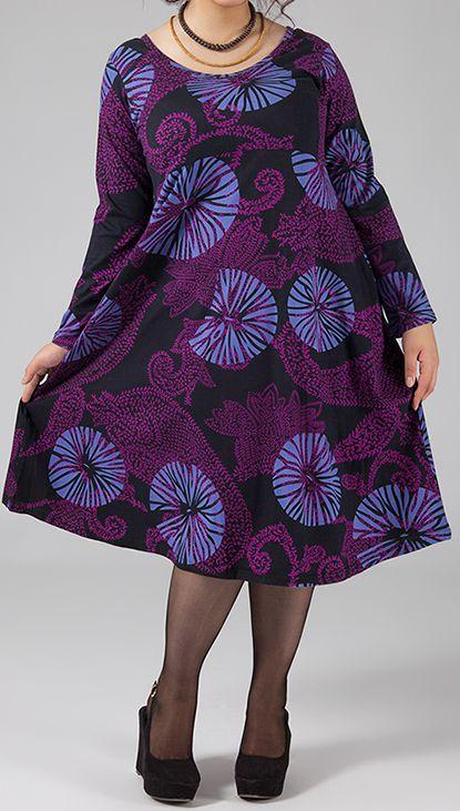 Robe mi-longue Femme ronde Ethnique et Colorée Kaitlyn Violette 274914