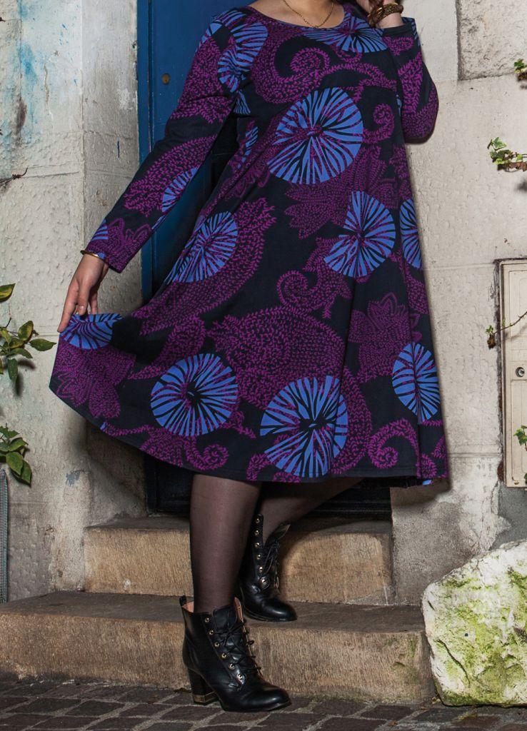 Robe mi-longue Femme ronde Ethnique et Colorée Kaitlyn Violette 274915