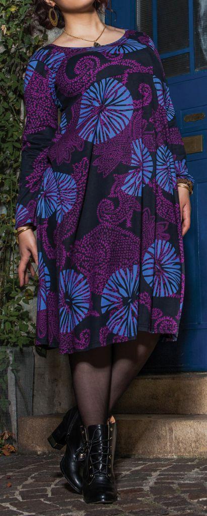 Robe mi-longue Femme ronde Ethnique et Colorée Kaitlyn Violette 274916