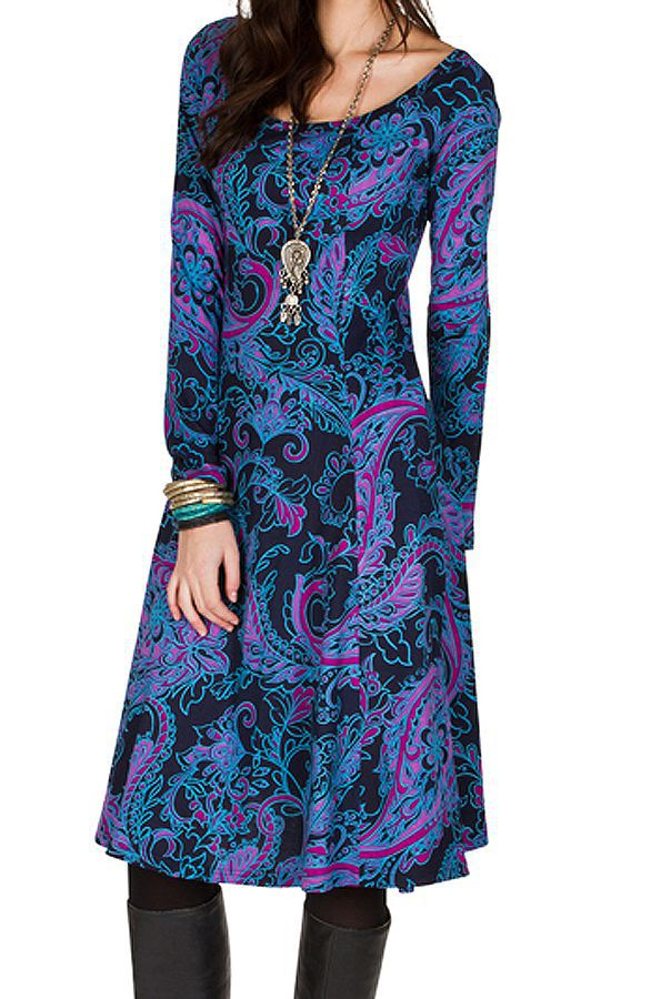Robe mi-longue Flare  bleutée avec des imprimés originaux Perinne 301246