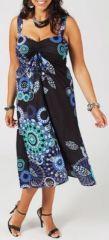 Robe mi-longue grande taille pas chère noire et bleue Alesia 271191