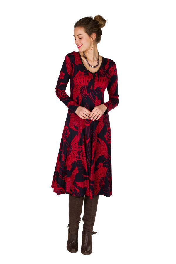 Robe mi-longue jersey de coton avec imprimé de style asiatique Poire 301905