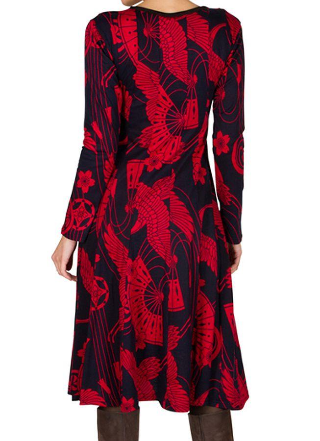 Robe mi-longue jersey de coton avec imprimé de style asiatique Poire 301906