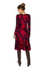 Robe mi-longue jersey de coton avec imprimé de style asiatique Poire 301907