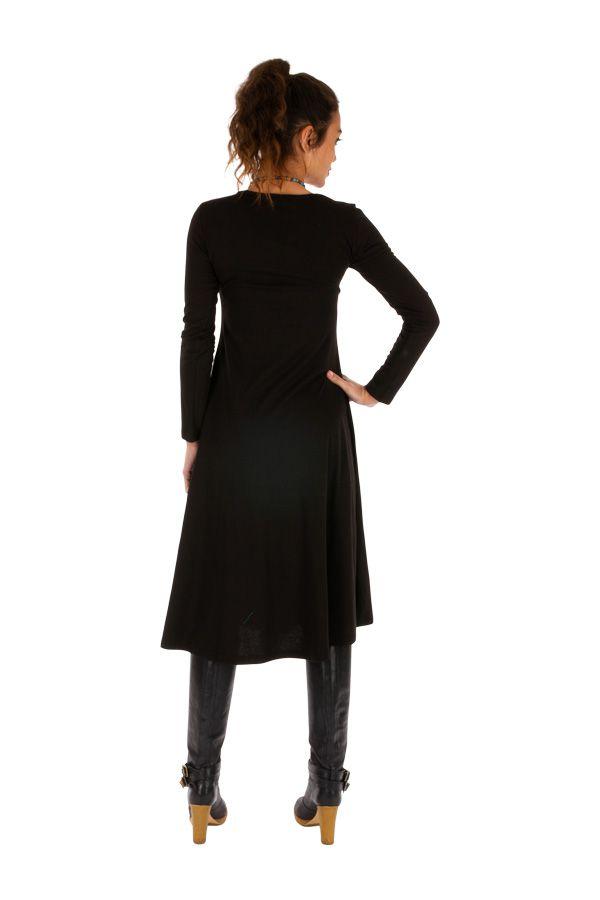 Robe mi-longue noire ethnique au détail brodé Bangui 313858