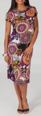 Robe mi-longue style ethnique � col b�nitier Malorie 2 271660
