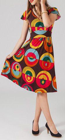 Robe mi-longue style ethnique à col en V Cinthya 1 271655