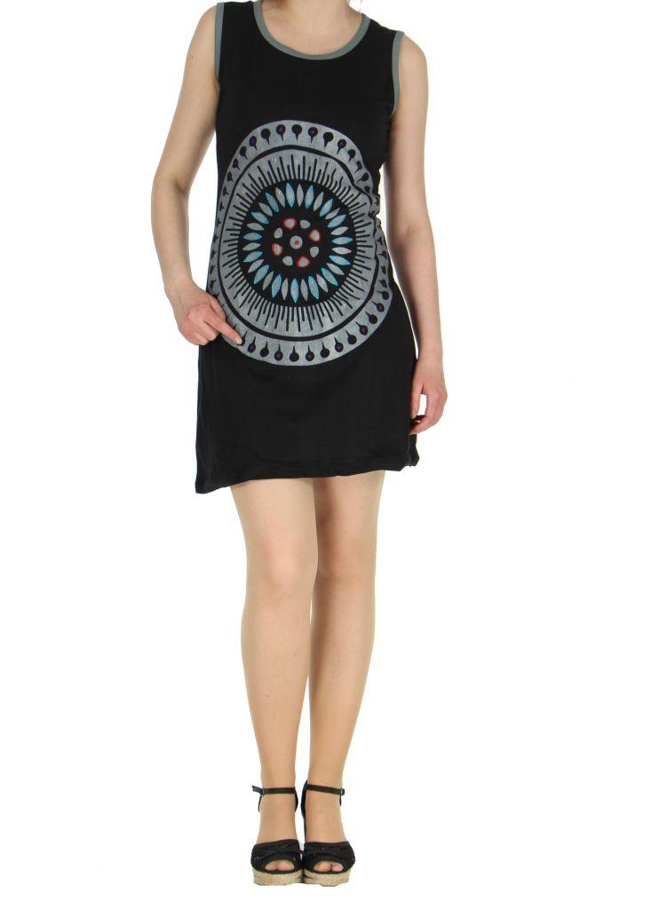 Robe motif tribal noire Mathaz 268332