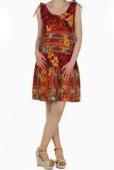 Robe naomie à volant imprimée ethnique 257616