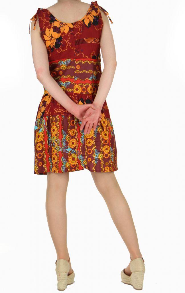 Robe naomie à volant imprimée ethnique 257617