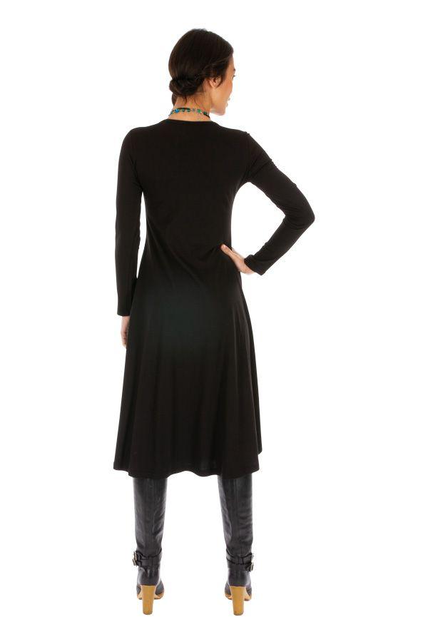 Robe noire au bas évasé et à l'imprimé original Bozoum 313865