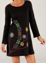 Robe Noire courte à manches longues Originale et Chic Linosa 279716