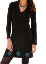 Robe noire de soirée originale chic ethnique avec imprimés Monia 313312
